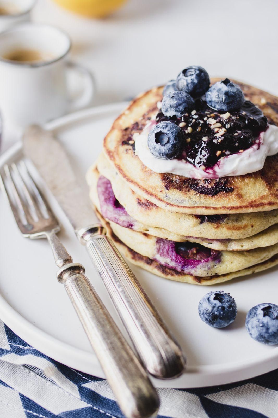 Pancake ai mirtilli e yogurt greco