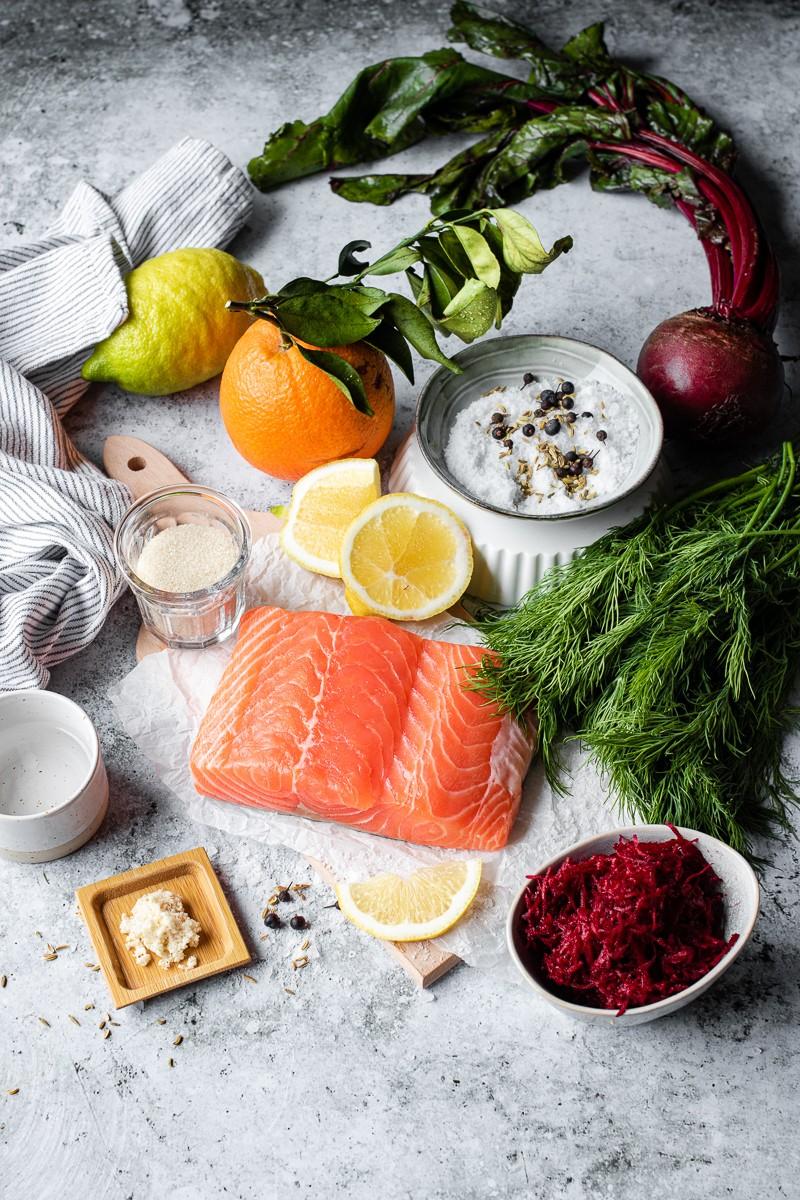 ingredienti gravlax salmone marinato