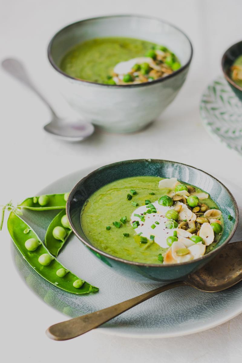 Crema di piselli e broccoli al miso