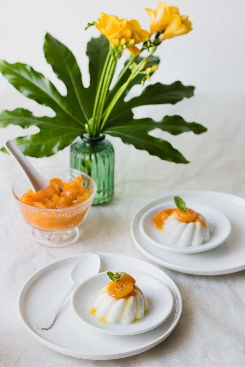 Panna cotta alleggerita ai kumquat canditi