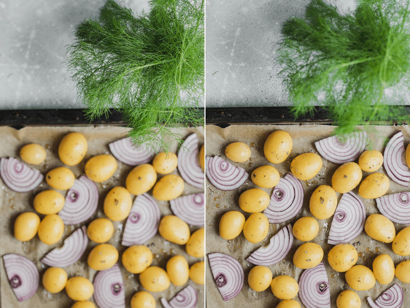 Patate novelle e cipolle rossa in attesa del forno e aneto fresco