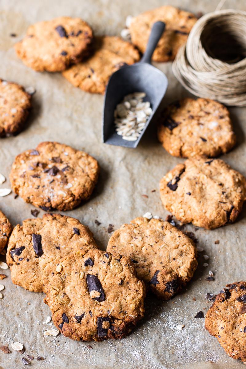 teglia di biscotti all'avena e cioccolato