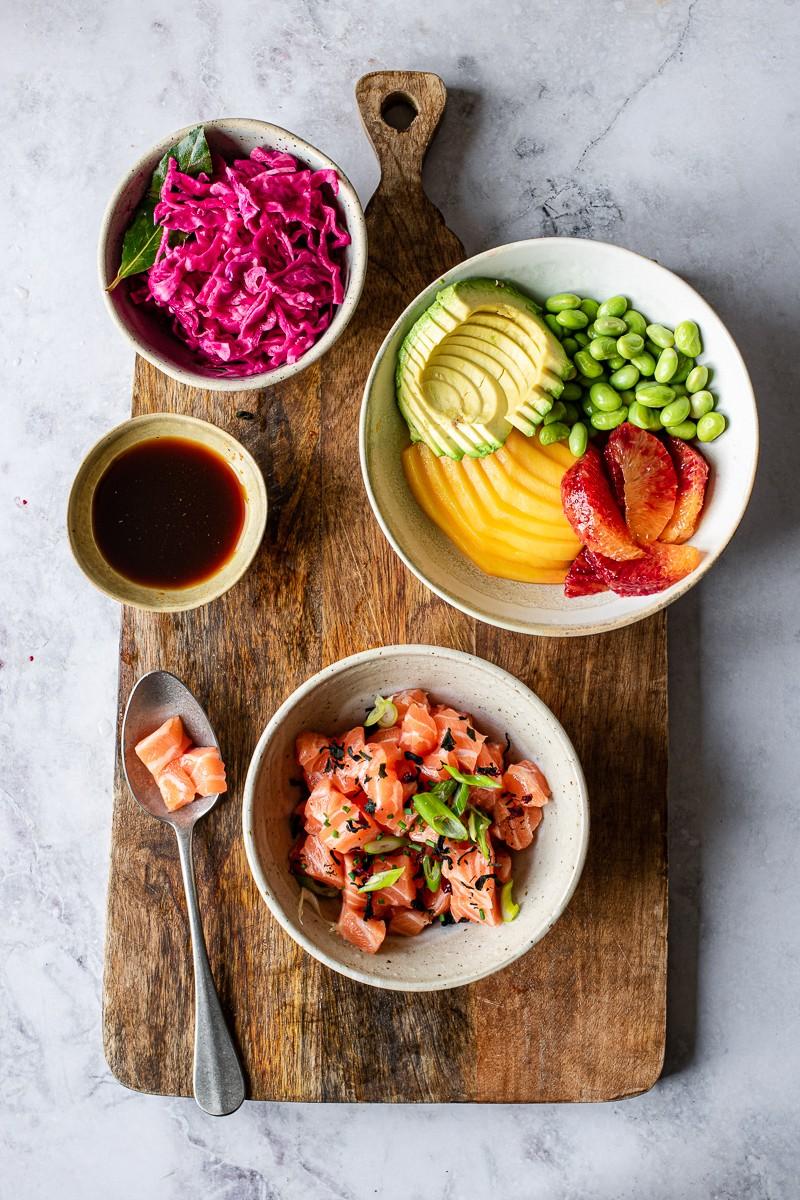 ingredienti per la bowl di salmone in salsa ponzu