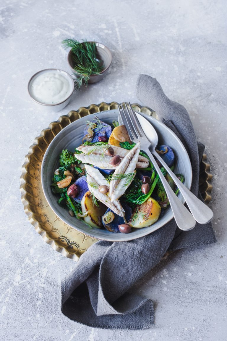 Purple potatoes salad with mackerel, turnip tops and kohlrabi