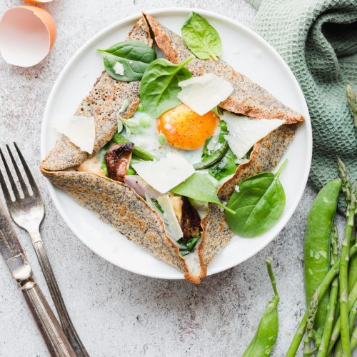 Galettes bretonnes with eggs and spring veggies