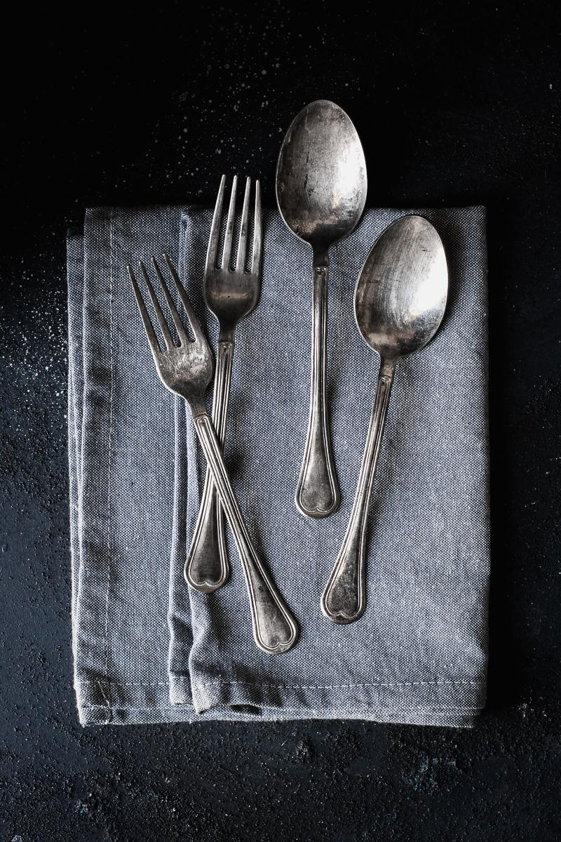 forchette vintage come props per food photography