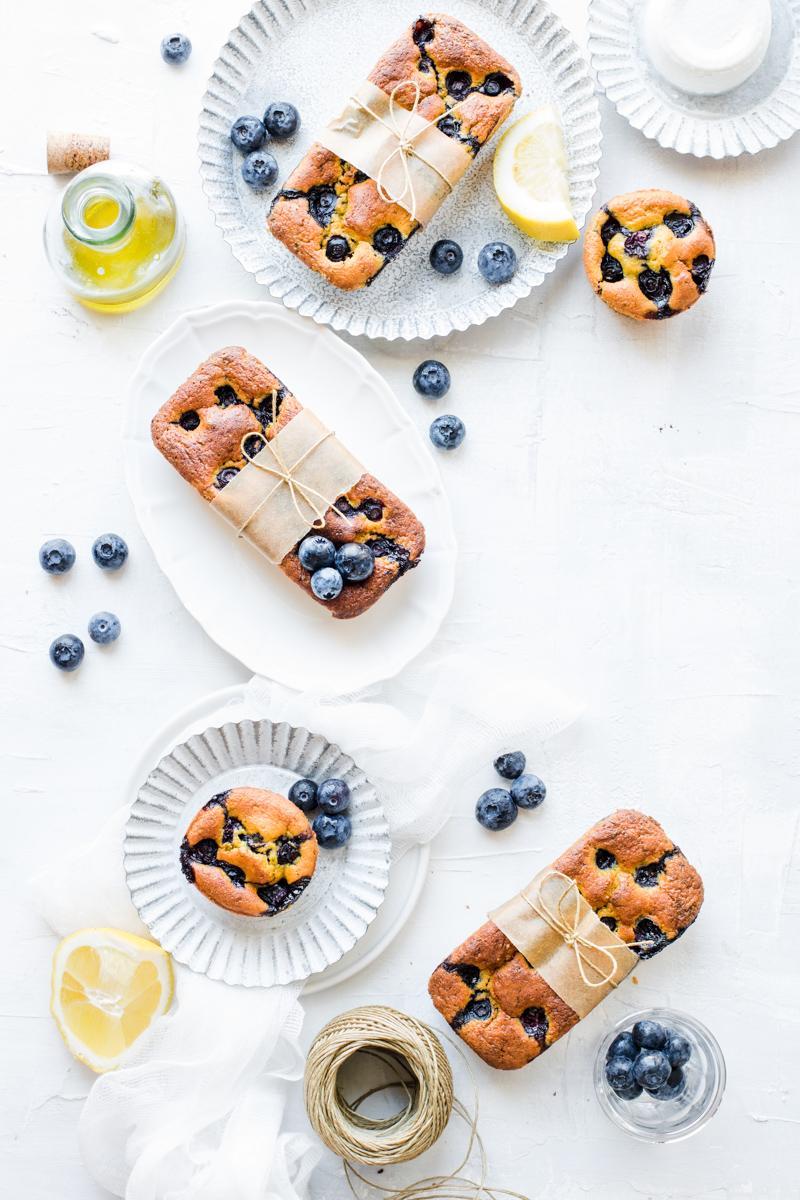 Muffin e mini plumcake ai mirtilli e limone senza burro, senza glutine e senza zucchero