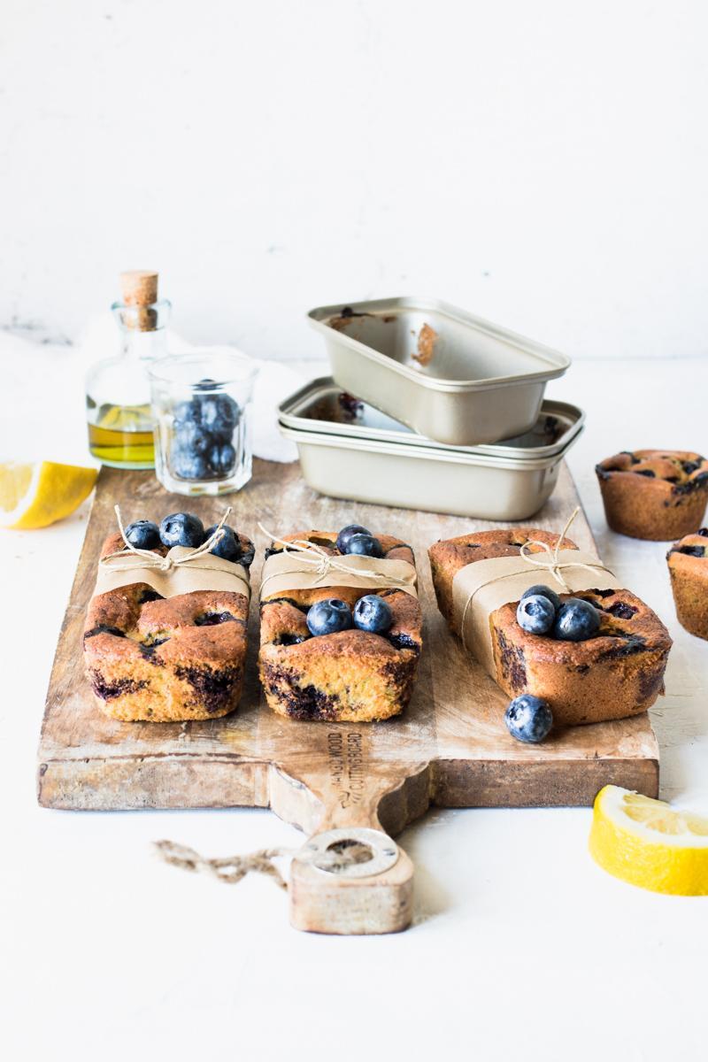 Mini plumcake ai mirtilli e limone con olio evo