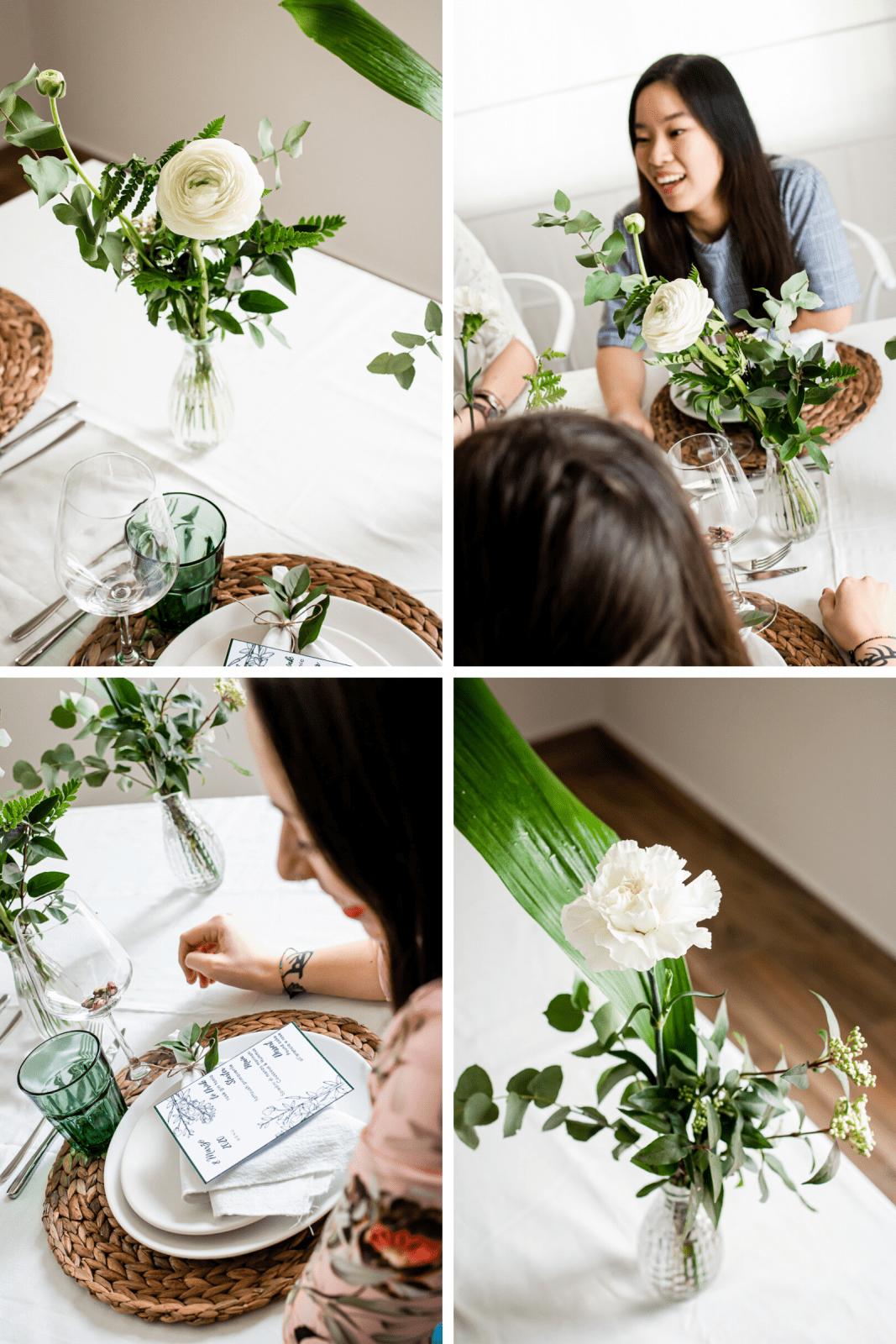 allestimento tavola primaverile per la festa della donna con verde e fiori bianchi