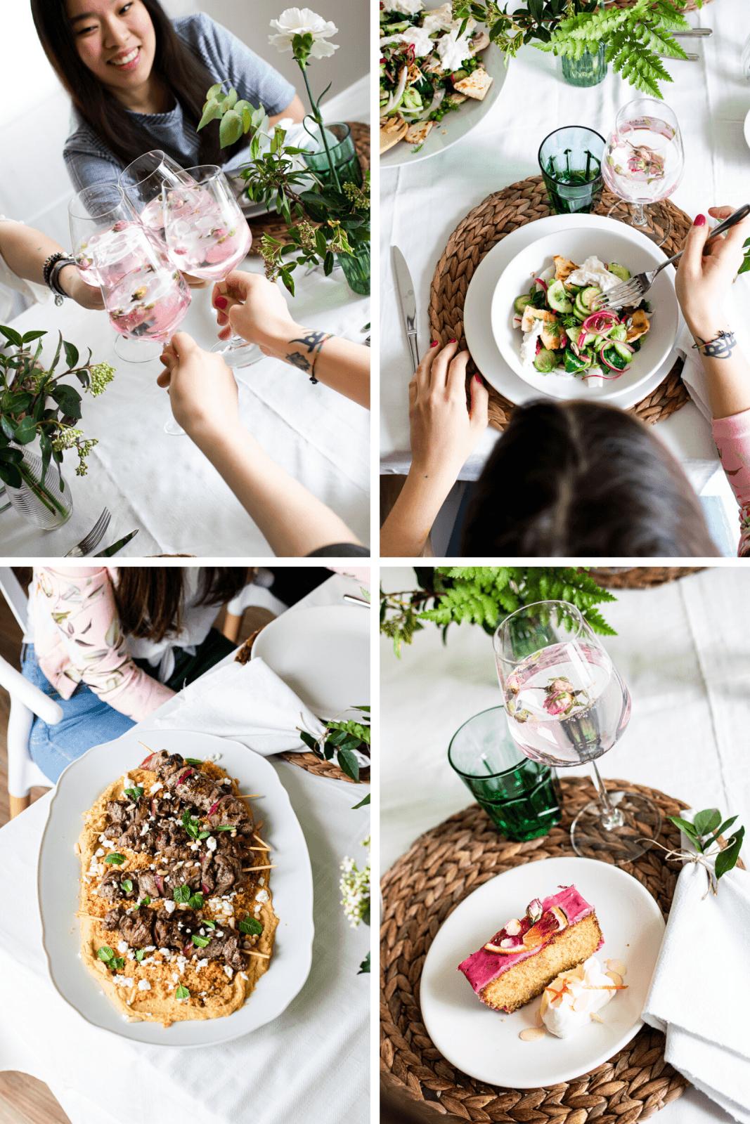 menù mediorientale primaverile a quattro portate per la festa della donna