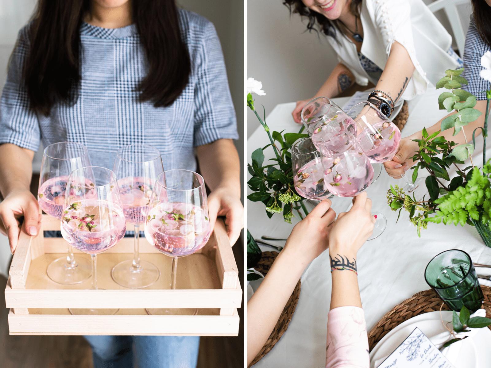 Brindisi tra donne con gin tonic rosa per la festa della donna