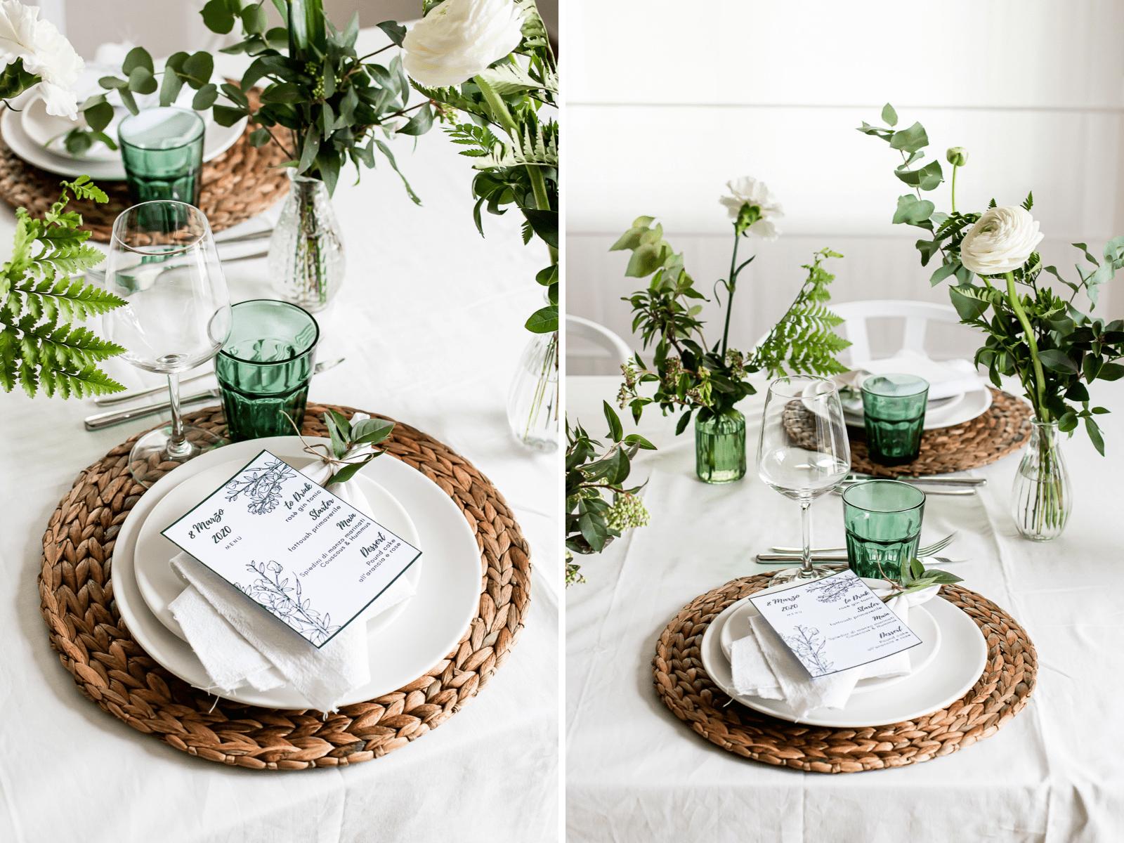 allestimento per tavola primaverile per 8 marzo con fiori bianchi e verde