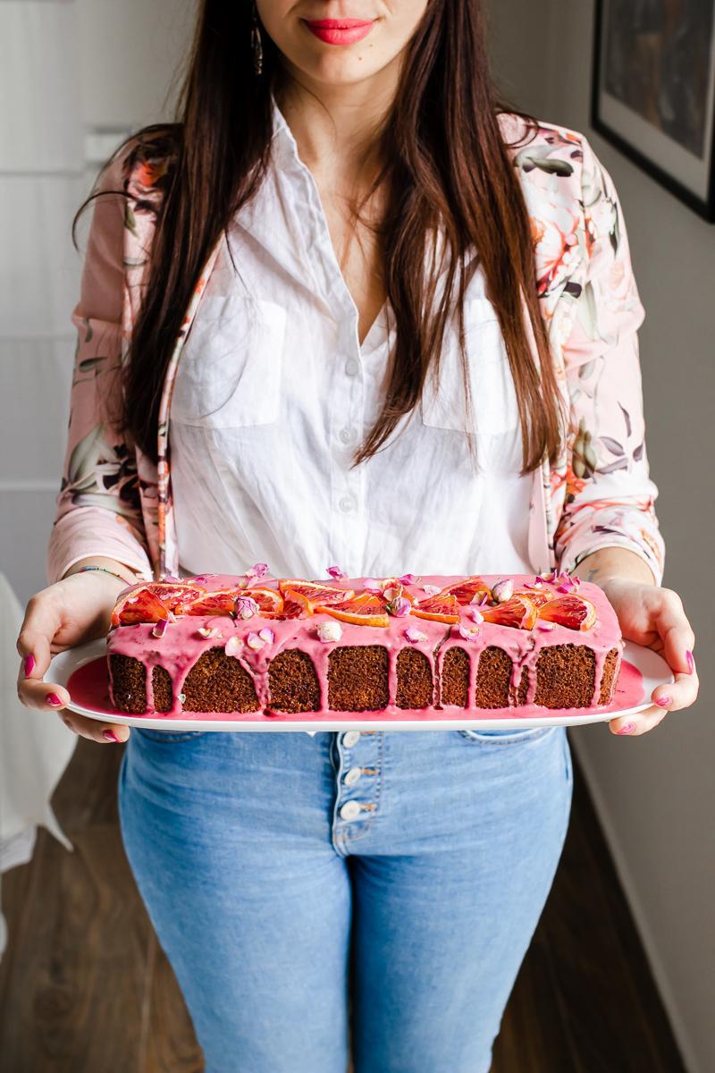 pound cake all'arancia rossa e rosa - menù mediorientale festa della donna