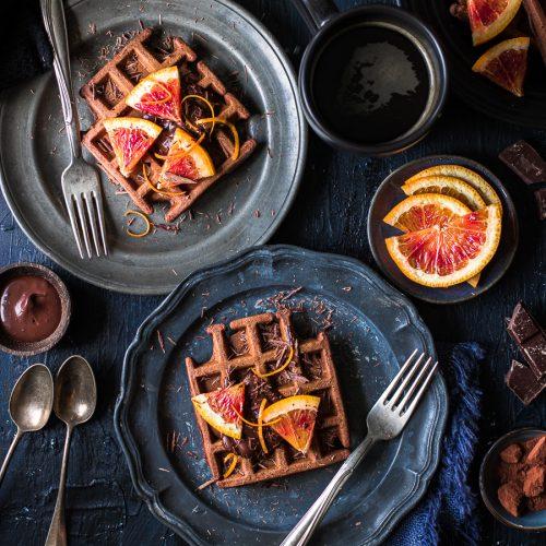 waffle senza glutine al cioccolato e arancia