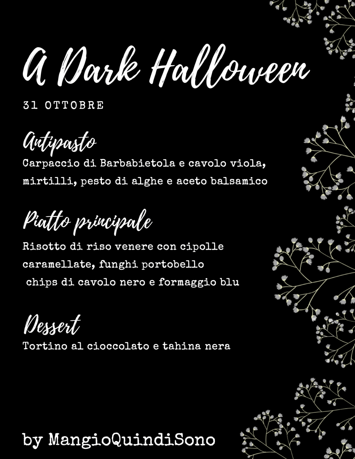 Menù elegante per Halloween