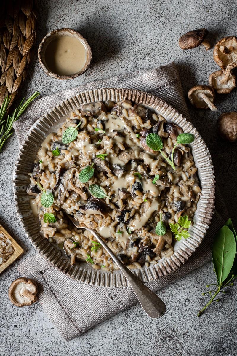 Risotto ai funghi, miso e thaina