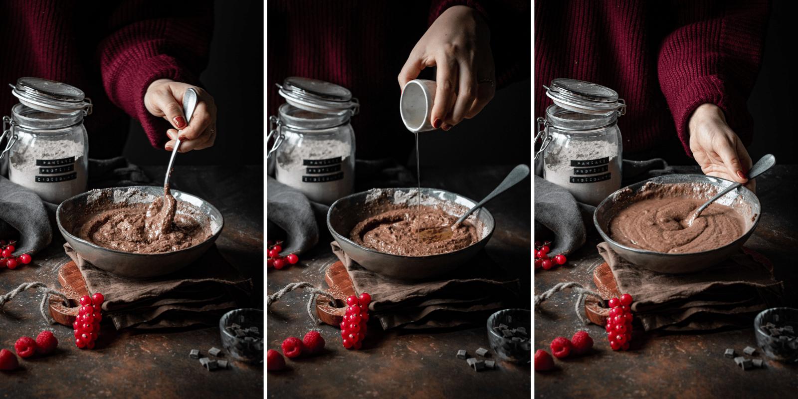 impasto per pancake proteici al cioccolato