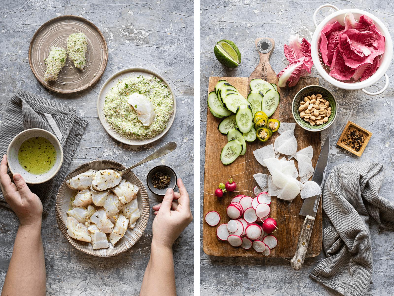 ingredienti per il merluzzo impanato senza grassi e l'insalata di radicchio e ravanelli