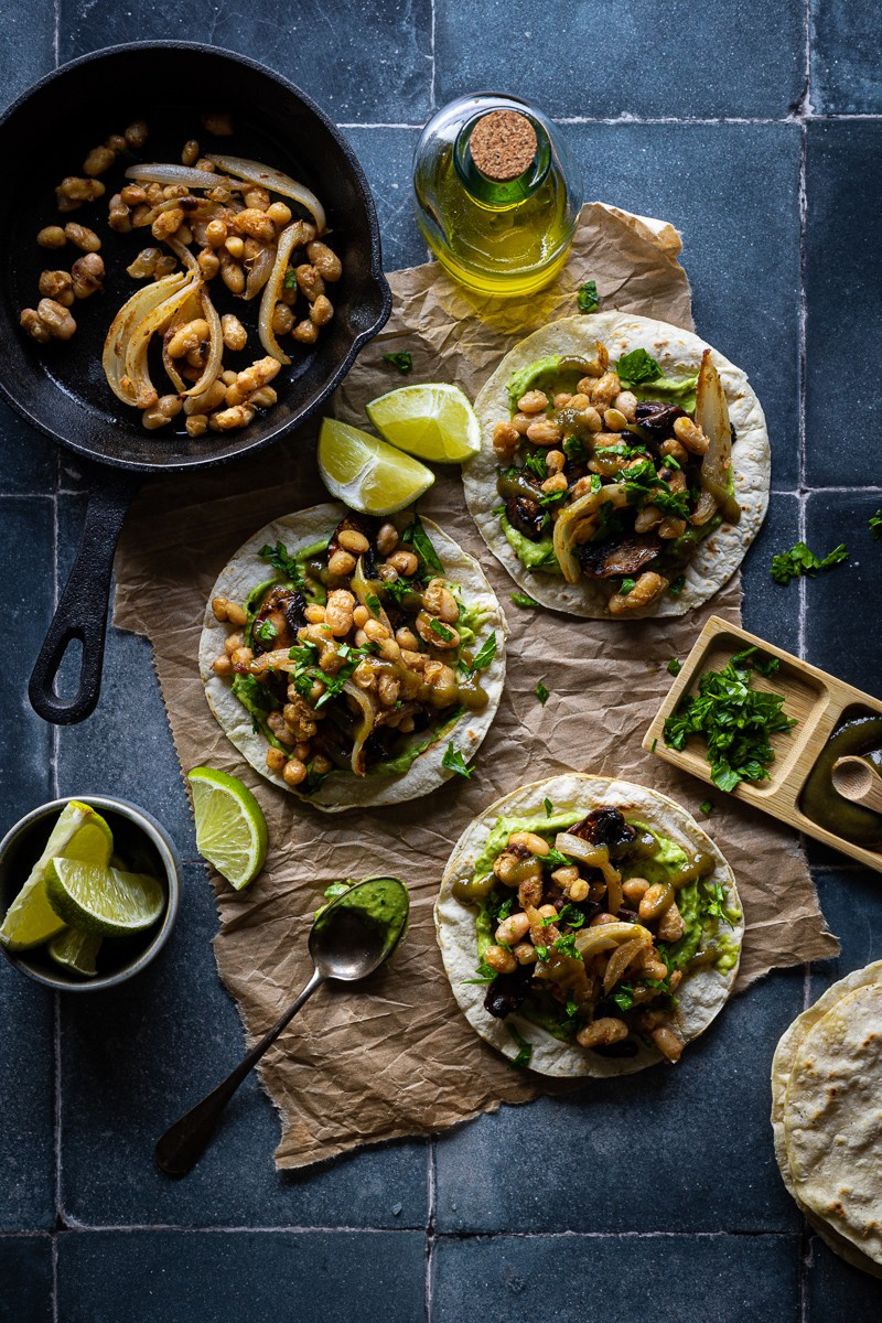 ricette estive con i legumi tacos vegani di fagioli e funghi
