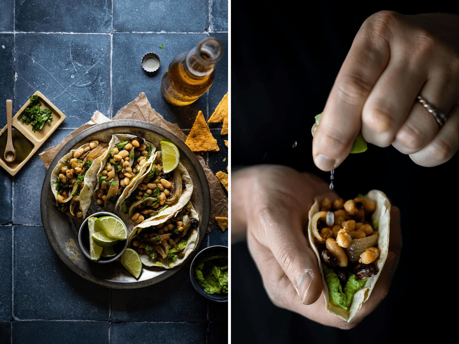 tacos vegani di fagioli e funghi